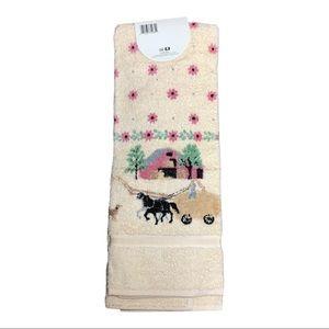 Vintage 3 piece horse carriage towel set